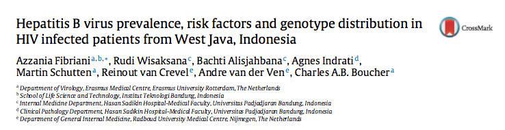 Hepatitis B virus prevalence, risk factors and genotype distribution in HIV infected patients from West Java, Indonesia