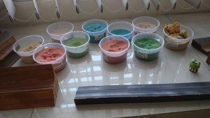 specimen of colored sands for sandbox modeling